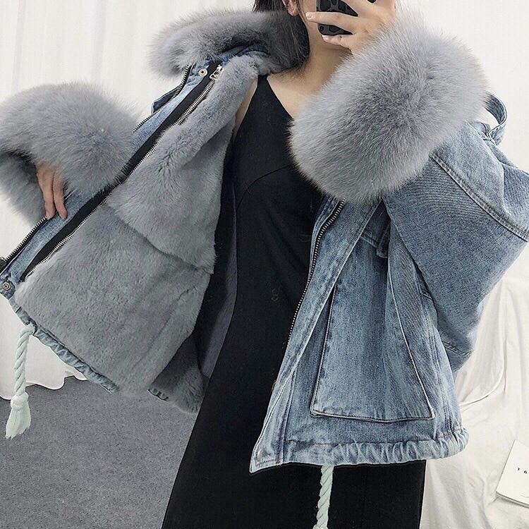 Luzuzi Women Winter Denim Jacket 2020 Oversize Large Fur Collar Plus Velvet Jacket Detachable Thick Loose