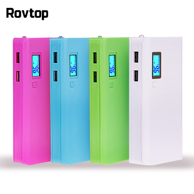 Rovtop 뜨거운 판매 5V 듀얼 USB 5x18650 전원 은행 배터리 상자 휴대 전화 충전기 DIY 쉘 케이스 iphone6 플러스 S6 xiaomi