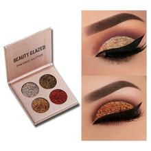 Beauty Glazed 4 Color Glitter Matte Eyeshadow Palette Makeup Pigment Smoky Waterproof Cosmetics
