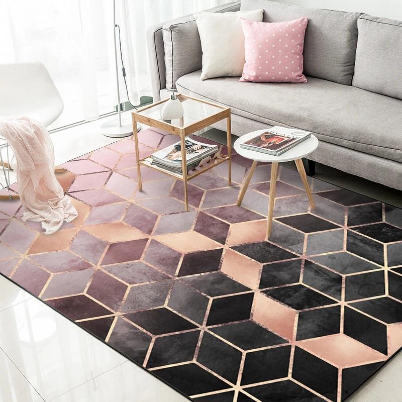 Black Rose Gold Living Room Carpet Nordic Home Decoration Modern Bedroom Rugs Anti Slip Gradient Geometric Lounge Mats 160x230 Carpet Aliexpress