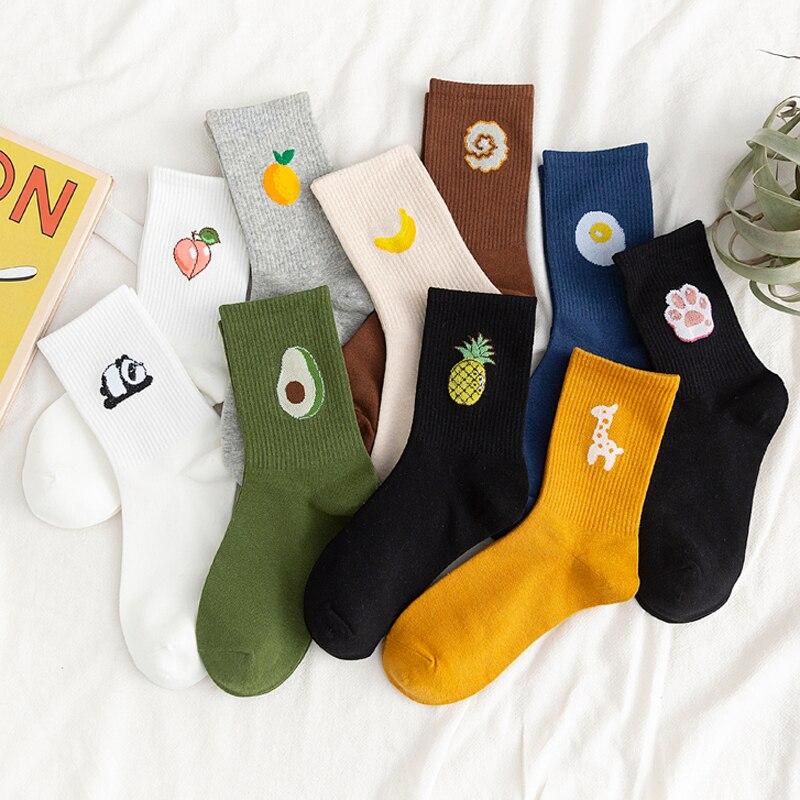 Носки унисекс с забавными фруктами, женские разноцветные носки средней длины в стиле Харадзюку, 100 хлопок, 1 пара, каваи, размер 35 42|Носки|   | АлиЭкспресс