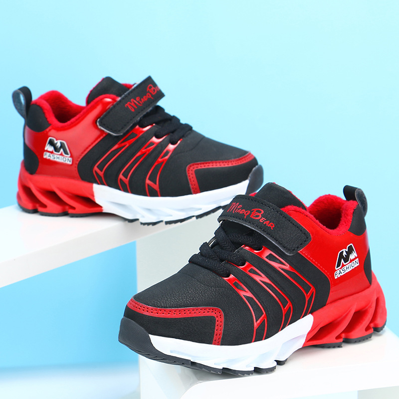 H1e2be82570df48a685173a249425d29dR - Autumn Kids Shoes Boys Sneakers Breathable Patchwork Hook&Loop Sport Running Children Shoes For Girls Casual Shoes