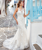 Vestido de Noiva Lace Wedding Dresses Mermaid Jewel-Neck Bridal Gowns 2020 Sheer Wedding Dress Bride Formal Gown