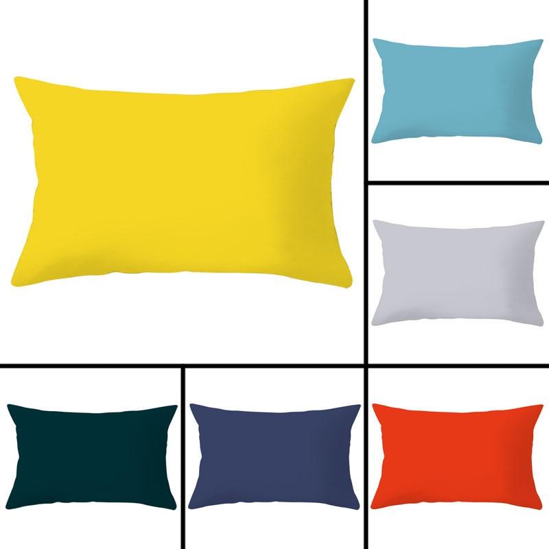 1pcs 30x50cm Solid Color Pillowcase Polyester Peachskin Pillowcases Waist Pillow Cover Decorative Pillows Cover