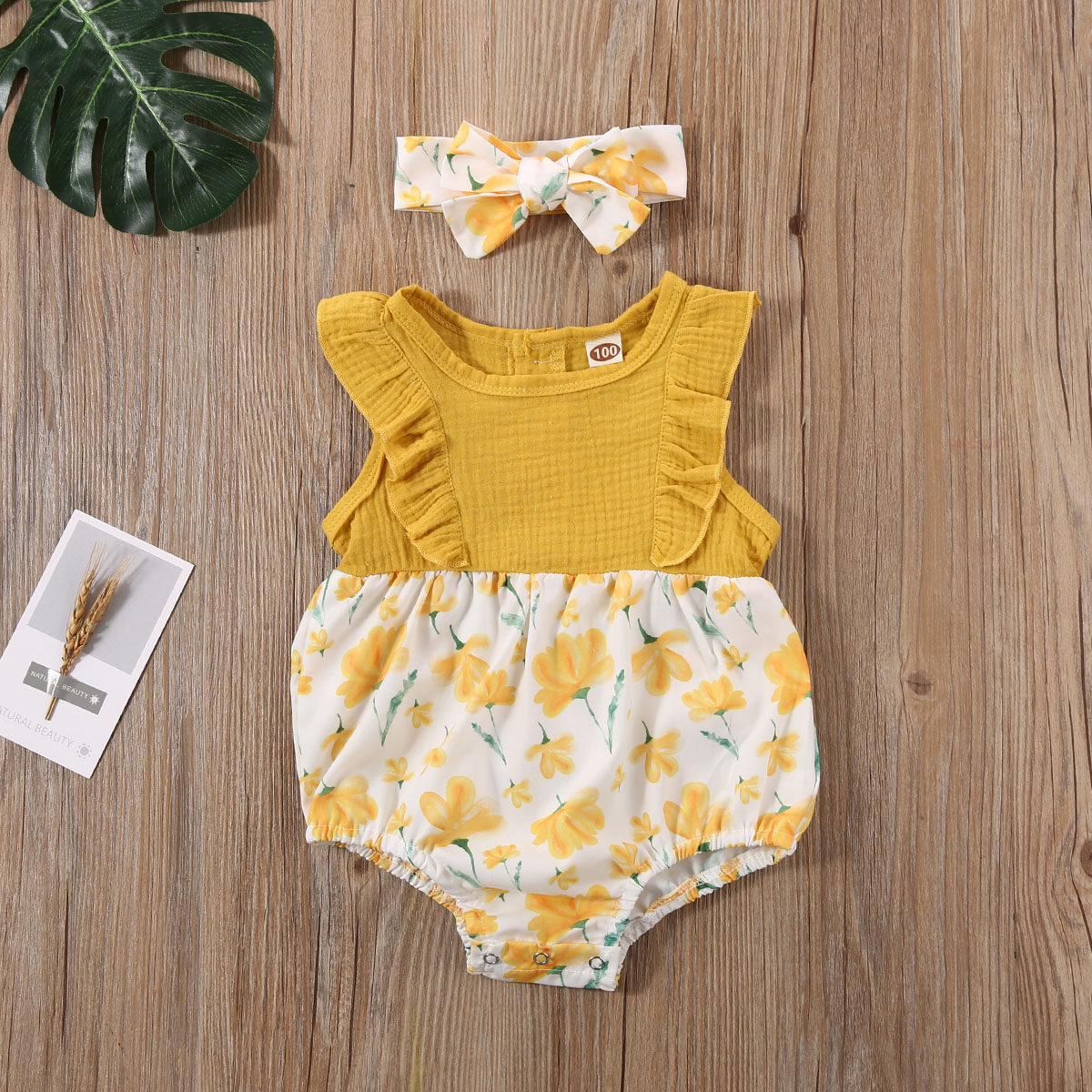 Pudcoco Newborn Baby Girl Clothes Sleeveless Ruffle Flower Print Romper Jumpsuit Headband 2Pcs Outfits Cotton Sunsuit Clothes
