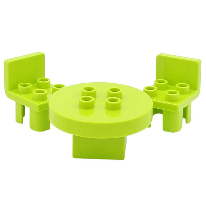 Duplo bloki DIY akcesoria stoły krzesła łóżko ogrodzenie parasol czajnik Duploed Big Size cegły budowlane części zabawki dla dzieci