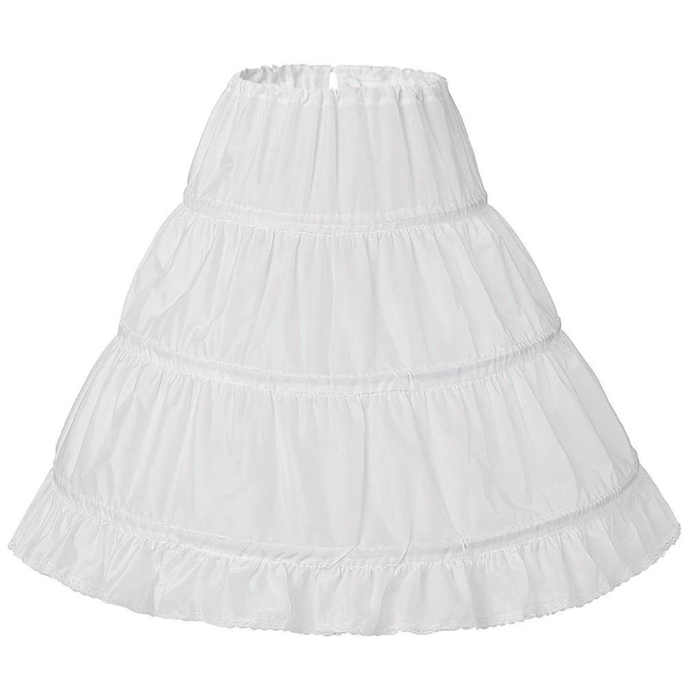 Child Flower Girls Long Petticoat Drawstring Waistband Ruffles Pleated Trimming 3 Hoops Kids Princess Crinoline Tutu Underskirt