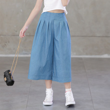 Korean Style Girls' Trousers Light Blue Pleated Elastic Waist Loose Casual All-match Wide Leg Pants Cropped Pants girls ruffle ruffle hem wide leg pants