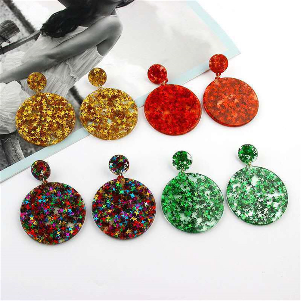 Colorful Bling Sequins Star Jewelry Acrylic Resin Drop Earrings For Women Geometry...