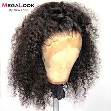 Megalook-peluca con malla Frontal para mujer, peluca de cabello humano rizado de 13x6, con densidad de 180, sin pegamento, predesplumada, 30 pulgadas, 13x6