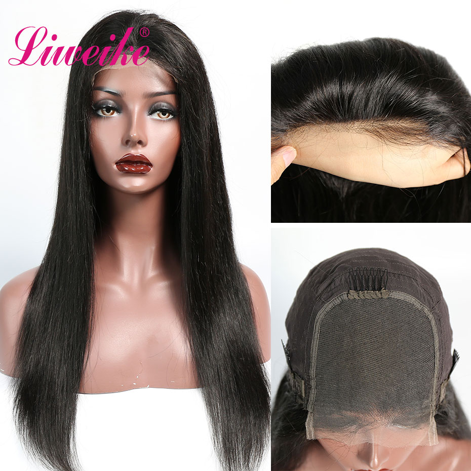 Liweike HD Lace Straight 4*4 Lace Closure Wig Remy Human Hair 150% Density Silky Pre Pluncked Transparent Lace Closures Wigs 1B