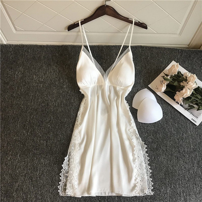Women Nightgowns Sexy Lace Satin Sleepwear V-neck Nightdress With Chest Pads Homewear Summer Thin Backless Lounge Soft Nightwear