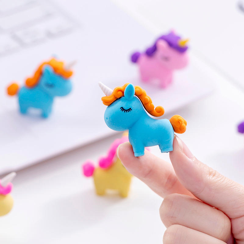 1PC Kawaii Fat Unicorn Eraser Modified Eraser Cute Cartoon Creative Detachable Pencil Office Children's Toys Gifts