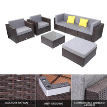 Breathable and Waterproof Cushion 7 Pieces Patio PE Wicker Rattan Corner Sofa Set for Outdoors