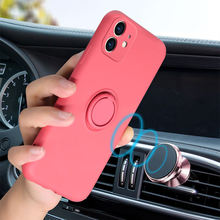 Soft Liquid Silicone Cases For iPhone 11 Pro Max XS X XR 6 S 6S 7 8 Plus SE 2020 Original Cover+Magnetic Ring Holder Wrist Strap
