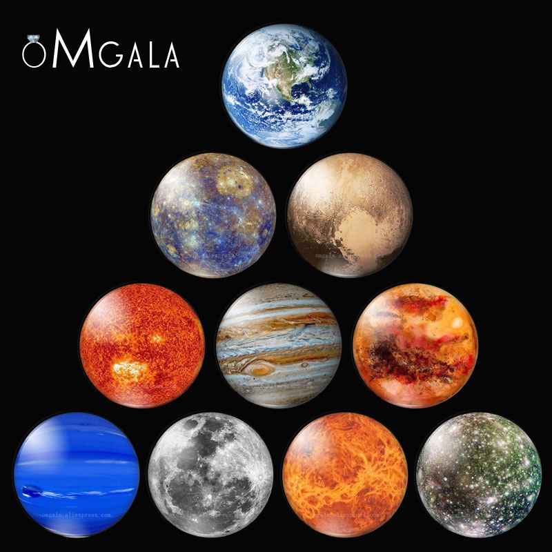 10PCS/SET Full Moon Earth Solar System Planet 12/16/18/20/25/30mm Glass Cabochon Blanks Universe Galaxy Jewelry Making Findings