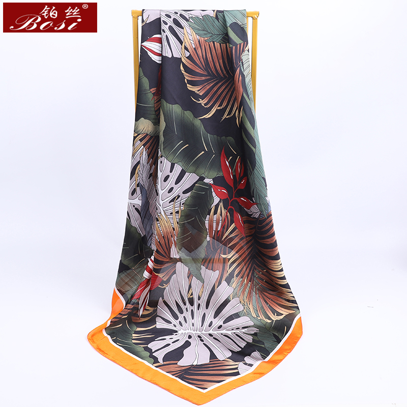 Silk Satin Scarf Women Leaves print big Square Shawl hijab Bohemia Fashion Spring Scarves Elegant <font><b>90</b></font>*90cm <font><b>foulard</b></font> free shipping image