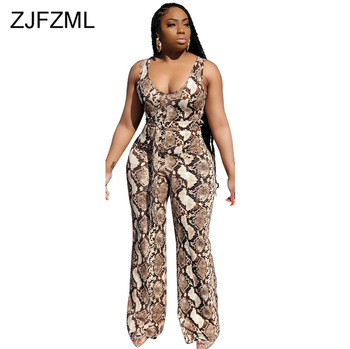 цена на Snakeskin Print Vintage One Piece Overalls For Women High Waist Sleeveless Bandage Jumpsuit High Street Belt Wide Leg Bodysuits