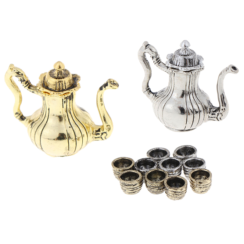5Pcs Metal Tea Set Teapot Cup 1: 12 Dollhouse Furniture Miniature Dining Ware Toy