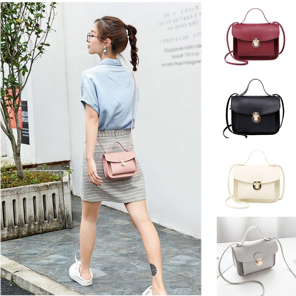 Women Small Square Bag Ladies Car Line Fashion Handbag Shoulder Bags Messenger Bag Mobile Phone Packet Lock Cute  Solid Retro