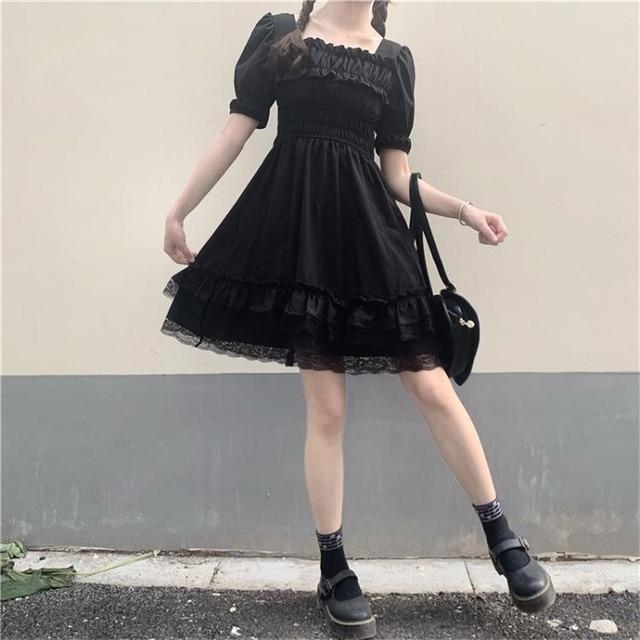 Japanese Lolita Style Women Princess Black Mini Dress Slash Neck High Waist Gothic Dress Puff Sleeve Lace Ruffles Party Dresses 4