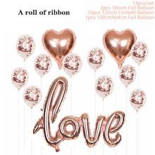 Abito decorativo con palloncini con paillettes oro rosa amore alluminio Express fidanzamento matrimonio palloncino decorativo foglio di alluminio ovale 100