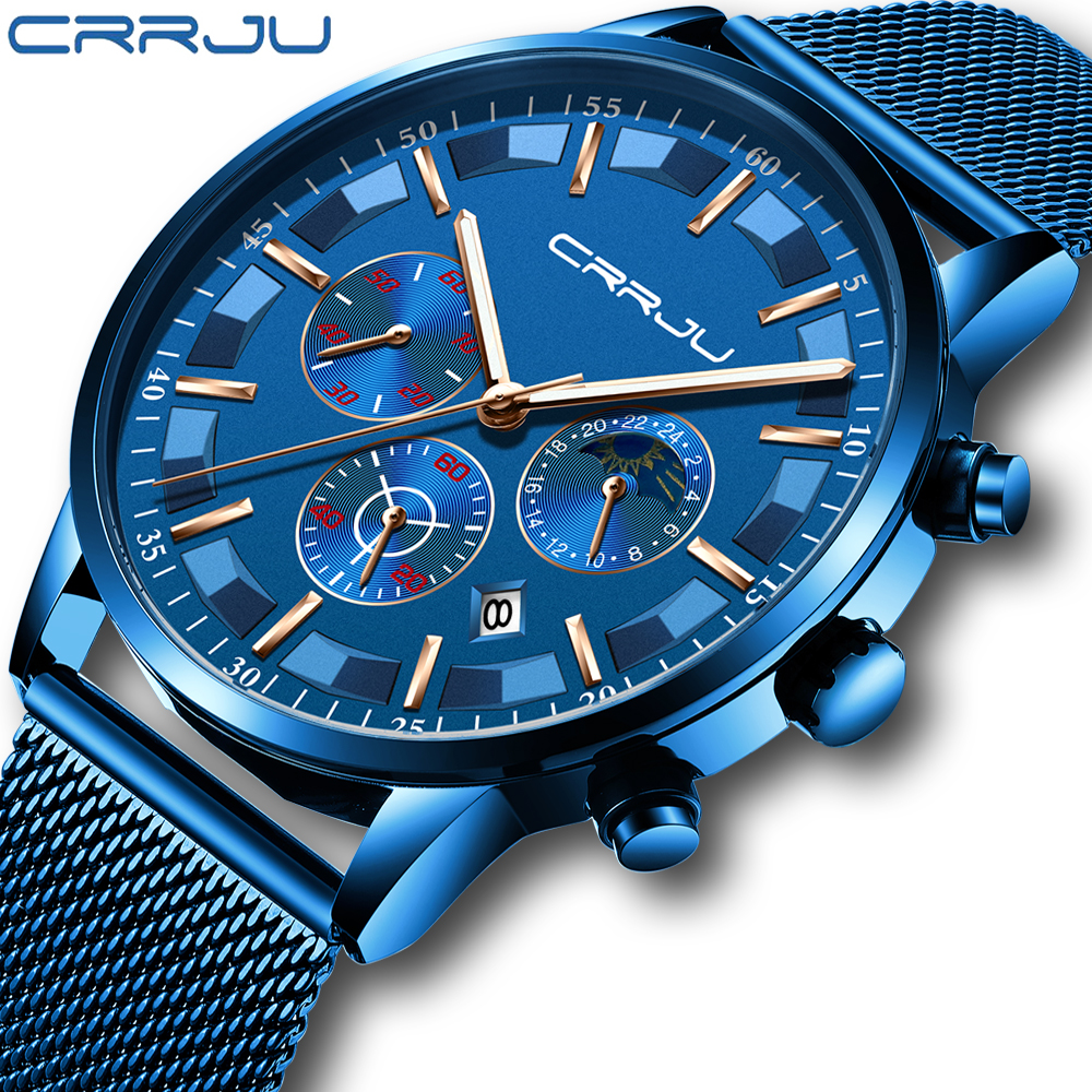 Mens Sport Watches CRRJU Top Brand Luxury Quartz Full Steel Male Clock Military Camping Waterproof Chronograph Relogio Masculino