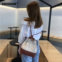 EXCELSIOR Stylish Backpacks PU and Canvas Patchwork Small Bags for Women Zipper Inner Pocket Backpack with Metal Ring Handle