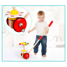Kids Wooden Toys Baby Walker Baby First Steps Car Toddler Trolley Single Rod Stroller Cartoon