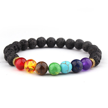 Newst Distance 7 Chakra Bracelet Black Lava Stones Beads Bracelets for Women Men Fashion Jewelry Gifts Pulseras Mujer Moda 2018