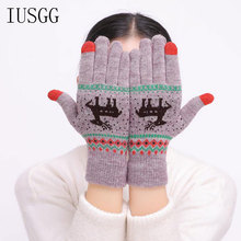 цена на Christmas Gloves Full Fingers Double Layer Thicken Warm Mittens Deer Printed Cycling Gloves Fitness Touch Screen Knitted Wrist