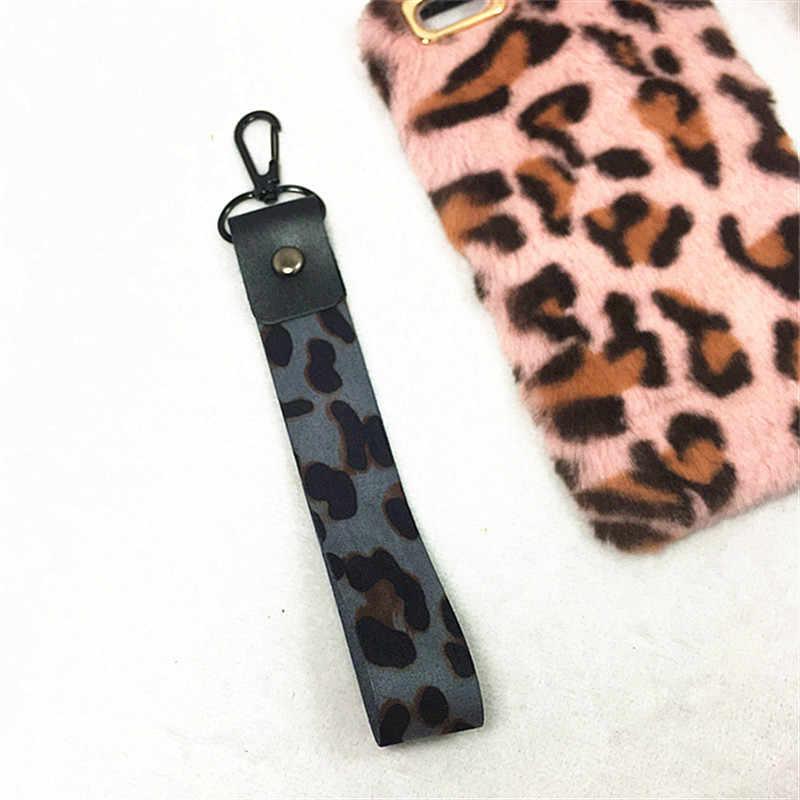 2019 novo leopardo impressão telefone titular chave cordão chita id crachá suportes animal telefone pescoço correias com chaveiro