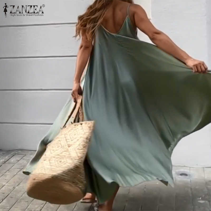 2020 ZANZEA Frauen Sommer Kleid Große Schaukel EINE Linie Kleider Urlaub Strand Sommerkleid Sexy Sleeveless Feste Vestidos Party Robe Femme