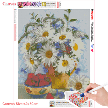 HUACAN Full Square Diamond Painting Flower Daisy Picture Of Rhinestone Diy Diamond Mosaic Home Decoration