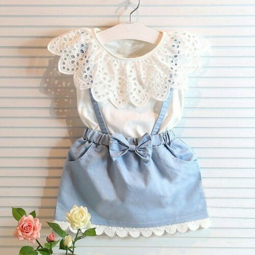 2PCS Set Toddler Kids Baby Girls Summer Outfits Clothes T-shirt Tops+Denim Dress 2019 New Baby Girl Outfits Baby Girl Set