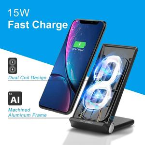 Image 5 - 15W Fast Wireless Charger Stand USB C Qi Quick Foldable 2 in 1 Charging Pad Station For IPhone 11 Pro XS XR X 8 Samsung S10 S9