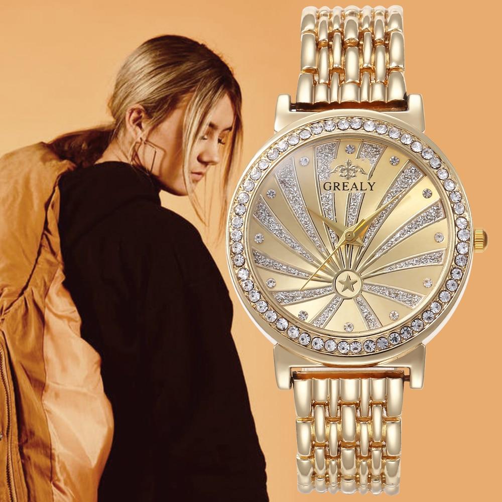 Luxury Ceasuri Gold Wristwatches Women Stainless Steel Band Dress Watches Ladies Quartz Watch Relogio Feminino Bayan Kol Saati