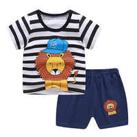 2021 New Summer Children Clothing Set Cotton Cartoon Kids Baby Boys Girls Suit Set 2-Pieces Baby Clothes