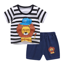 2021 New Summer Children Clothing Set Cotton Cartoon Kids Baby Boys Girls Suit Set 2-Pieces Baby Clothes