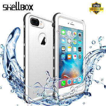 SHELLBOX Waterproof Phone Case For iPhone 7 8 5 6 Plus 360 Protector Shockproof Swimming Coque Cover for Apple Underwater Cases