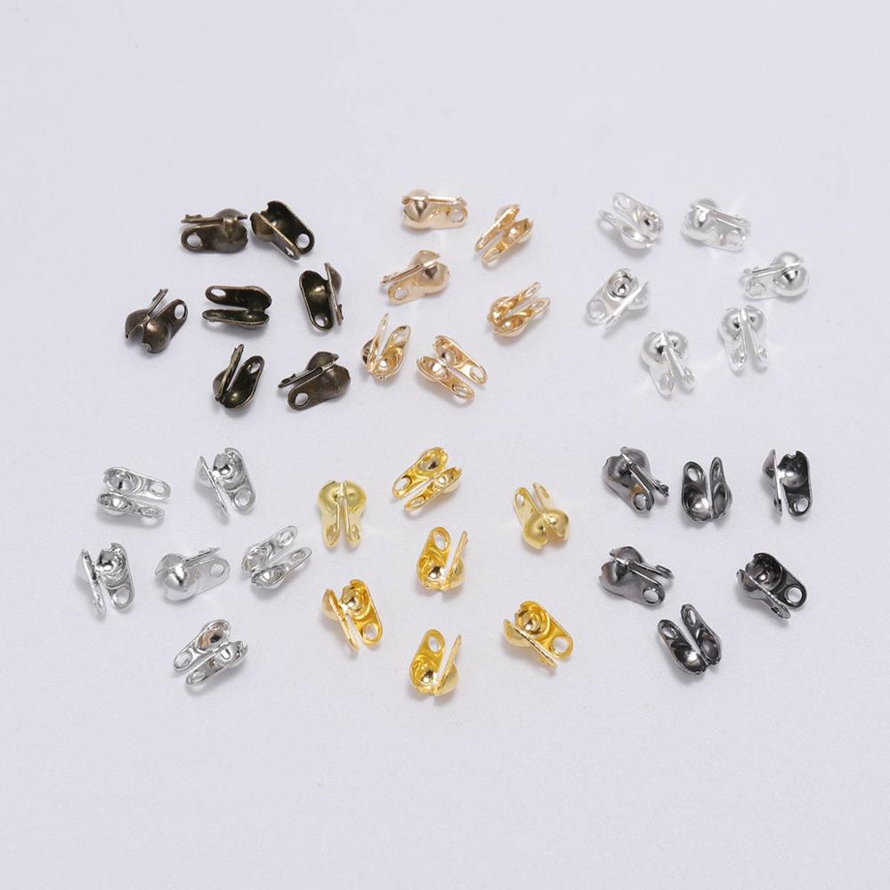 200pcs/lot Connector Clasp Ball Chain Calotte End Crimps Beads Connectors For Jewelry Making Findings DIY Accessories Supplies