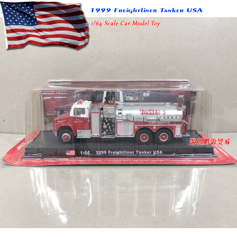AMER 1/64 Scale Car Model Toys 1999 Frelghtliner Tanker USA Fire-engine Diecast Metal Truck Model Toy For Collection/Gift