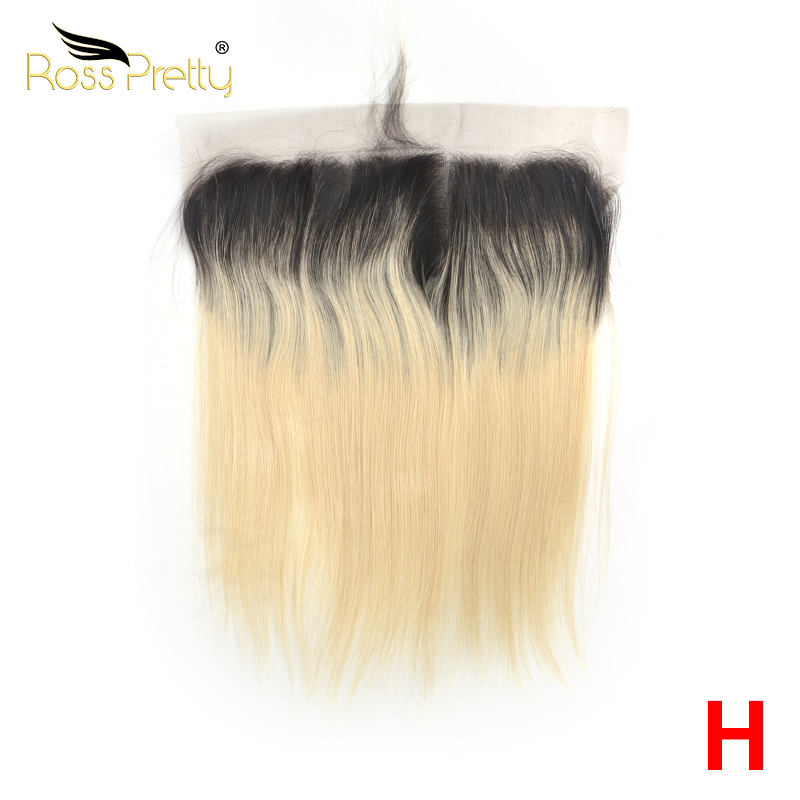 Ross Pretty High Ratio Remy Peruvian Straight Hair Lace Frontal Ombre Color1b Blonde Earto Ear 13x4 Front 100% Human Hair 1b/613