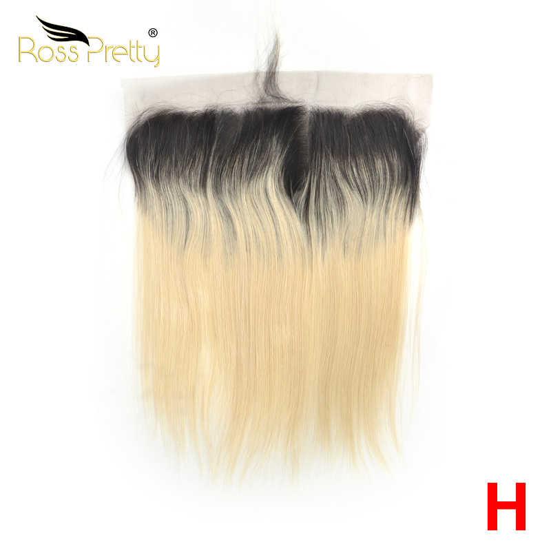 Ross dość wysoki stosunek Remy peruwiańskie proste włosy koronki Frontal Ombre Color1b blond Earto ucha 13x4 przodu 100% ludzki włos 1b/613