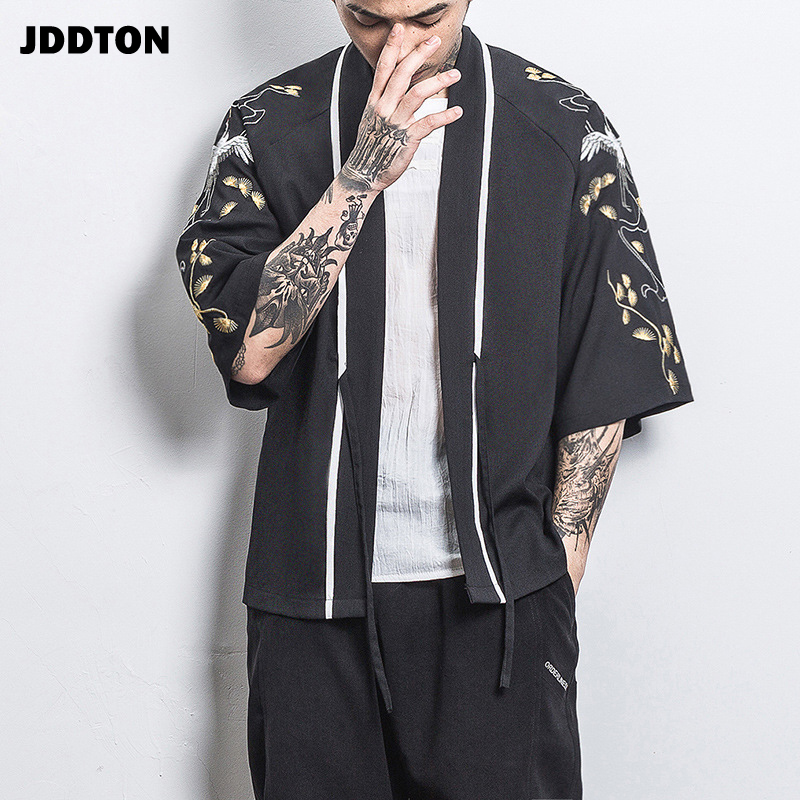 JDDTON 2020 New Summer Men's Open Cardigan Cotton Embroidery Vintage Jackets Clothing Casual Male Streetwear Sleeve Coats JE162