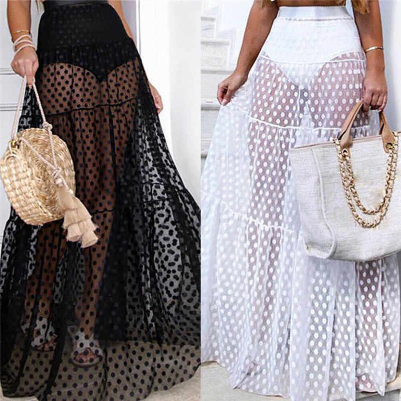 2020 Summer Women Bikini Cover Up Swimsuit Mesh Sheer Transparent Mini Wrap Skirts Tulle Female See Through Sarong Beachwear