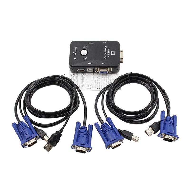 Switcher 2-Port USB2.0 KVM Switch Box Mouse/Keyboard/VGA Video Monitor 1920x1440