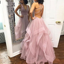 Sexy Pink Long Ruffled Floor Length Tulle V Neck Prom Dress Evening Gown Cross Back Tiered Backless Pleat Party Dress(China)