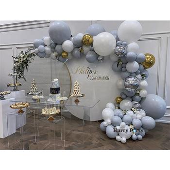 140 sztuk Diy Macaron szary biały balon Garland Arch zestaw 4D złota folia balon na urodziny i bociankowe przyjęcie weselne dekoracje tanie i dobre opinie Tak ( 50 sztuk) party balloon Ślub i Zaręczyny Chrzest chrzciny Na Dzień świętego Patryka Wielkie wydarzenie przyjęcie urodzinowe