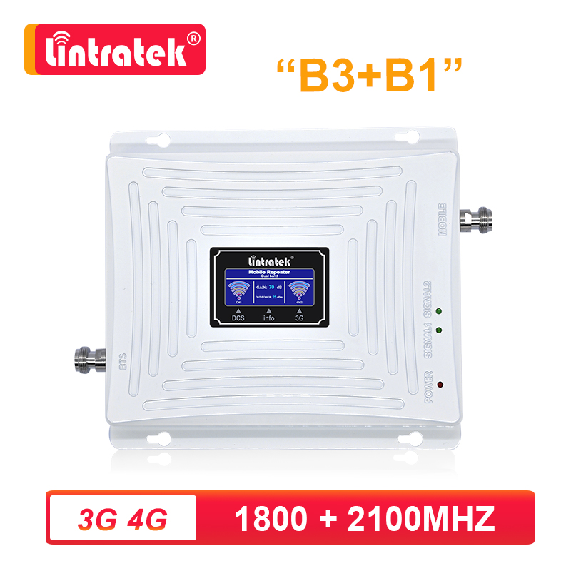 Amplifier <font><b>GSM</b></font> <font><b>3g</b></font> <font><b>4g</b></font> <font><b>LTE</b></font> DCS 1800mhz Cellular Signal Booster <font><b>3G</b></font> UMTS 2100mhz Repeater lintratek dual band 1800 2100 mhz kw20c s8 image